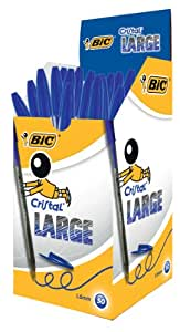 Bic Stylo à bille Pointe large Encre Bleue Corps plastique transparent à capuchon Lot de 50