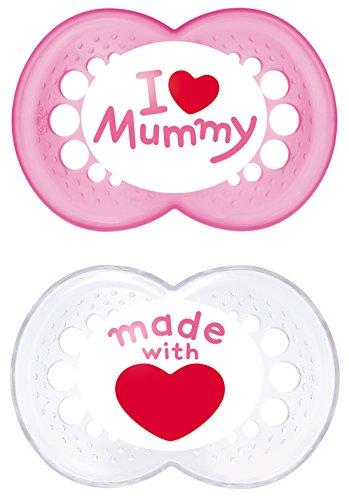 MAM Babyartikel, MAM 66737422 Original Succhietto in silicone, 6-16 Mesi, I love mummy, per bimba, confezione da 2 pezzi, modelli assortiti