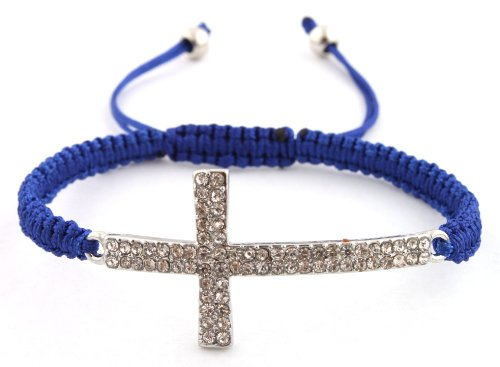 Blue Lace Style Iced Out Cross Bracelet with Beaded Disco Balls Macrame Shamballah