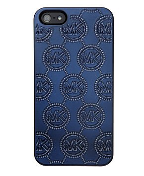 Great Sale Michael Kors Monogram Embossed Enamel Metallic Navy Iphone Phone 5 Hard Case New in Box