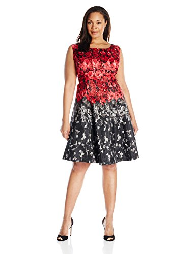 Julian Taylor Women's Plus-Size Floral Printed Fit and Flare Dress, Red/Black, 18W