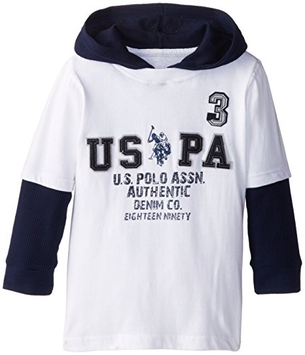 U.S. Polo Assn. Boy'S Jersey T-Shirt With Thermal Hoodie And Drop Down Sleeves, White, 5/6