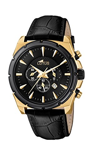 Lotus Men's Quartz Watch with Black Dial Chronograph Display and Black Leather Strap 18017/1