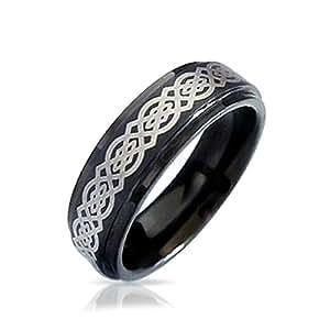 Bling Jewelry celtiques noeud noir Tungsten Anneau de mariage 8mm ...