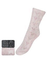 2 Pairs of Thermal Textured Heart Ankle High Socks with Wool