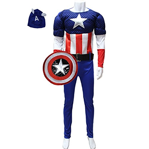 Mocoz Men's Marvel Captain America Classic Muscle Costume