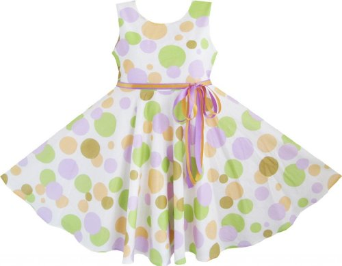 Db65 Sunny Fashion Kids Girls Colorful Dot Dress Belt Tie Party Sundress Size 11-12 front-61760