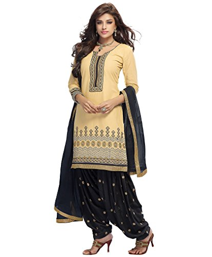 Kvsfab Womens Cotton Lace Patiala Unstitched Dress Material (Kvs 2656Pa-25 _Beige)