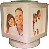 Memory Box Picture Frame and Electric Wickless Candle Warmer or Oil Burner Combo - Add Your Own Photos! (White Lamp No Photos)