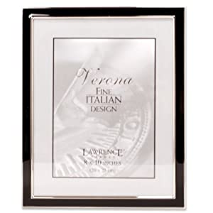 Lawrence Frames Silver Plated 8 by 10 Metal with Black Enamel Picture Frame