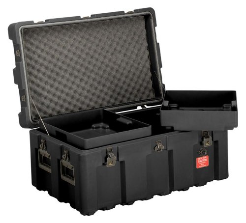 Attirant Images Of Loadmaster Footlocker Storage Trunk With Wheels, Removable Trays,  Lockable Hinged Lid, From ECS Case, Black :