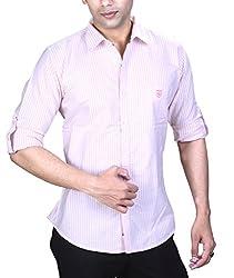 SPEAK Mens Pink Stripes Oxford Cotton Shirt