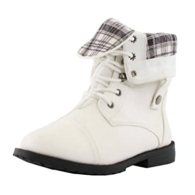 West Blvd Womens LAGOS COMBAT Boots Ankle Lace Up Military Army Fold Over Shoes ,White ,5.5