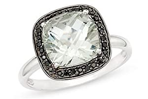 14k White Gold Green Amethyst and Black Accent Diamond Ring (0.084 Cttw), Size 5.5