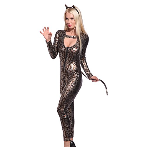 Sexy Women Vinyl PVC WETLOOK Leopard Catwoman Catsuit Jumpsuit Fancy Dress