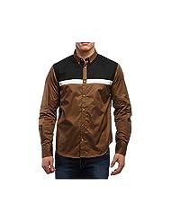 YOLO Black & Brown Paneled Men's Slim Fit Cotton Shirt