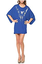 G2 Chic Women's Solid Kimono Sleeve Loose Fit Tunic Top or Dress