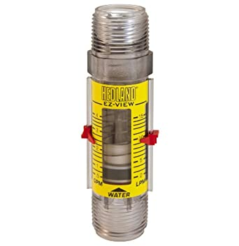 "Hedland H621-604 EZ-View Flowmeter With Sensor, Polysulfone, For Use With Water, 0.5 - 4 gpm Flow Range, 1"" NPT Male"