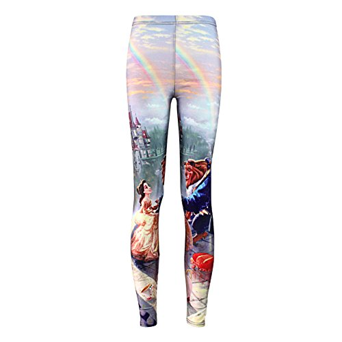 Womens Sexy Popular Beauty and the Beast Printed Pants Leggings (M)