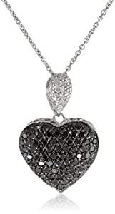 Sterling Silver Black and White Diamond Puffed Heart Pendant Necklace (1 cttw) 18