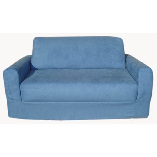 Fun Furnishings  Sofa Sleeper, Blue Micro Suede