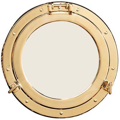 """21"""" Polished Brass Nautical Porthole Mirror"""