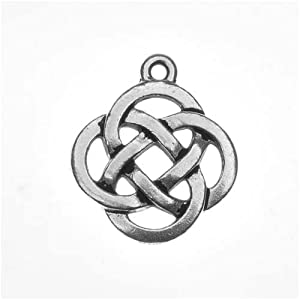 Fine Silver Plated Lead-Free Pewter Celtic Knot Open Pendant Charm 20mm (1)