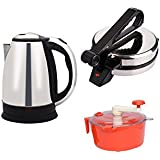 Snowpearl's Combo Of Electric 1.8 Ltrs Stainless Steel Kettle And Silver Roti Maker, Dough Maker