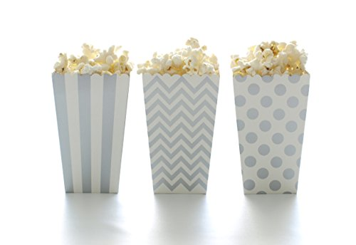 Popcorn Boxes, Silver Design Trio (36 Pack) - Movie Theater Style Popcorn Cartons for Dessert Tables & Wedding Favors (Theater Style Popcorn Bags compare prices)
