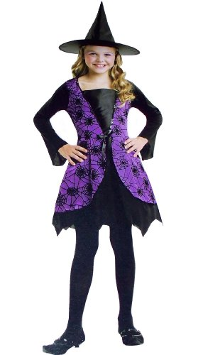 Child Girls Purple Spider Web Witch Dress Up Costume
