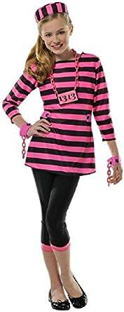 Girls Miss Dee Meaner Prisoner Costume - Medium