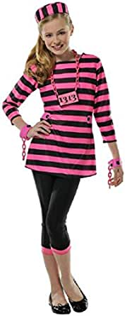 Girls Miss Dee Meaner Prisoner Costume - Large