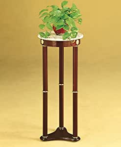 Lake Stevens Plant Stand in Cherry with White Round Marble Top