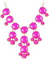 Rosy Bubble Necklace,Rosy Red Color Necklace,Statement Necklace (Fn0508-Rosy)