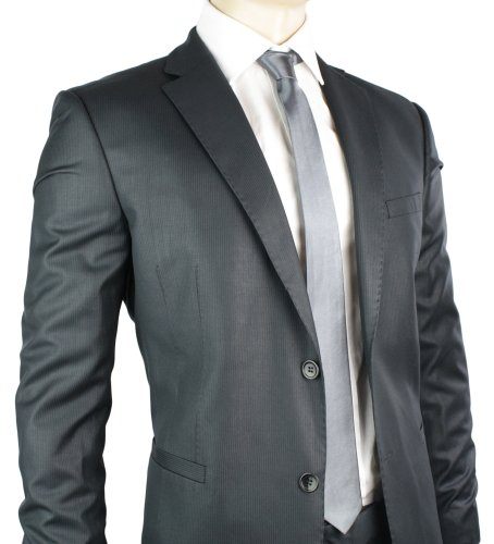 Mens Navy Pinstripe Suit Slim Fit Office or Party 2 Button Fitted Only £74.99