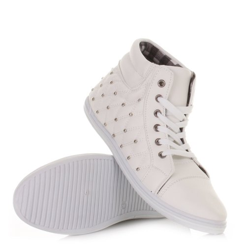 Womens Quilted Stud High Top Trainer Boots