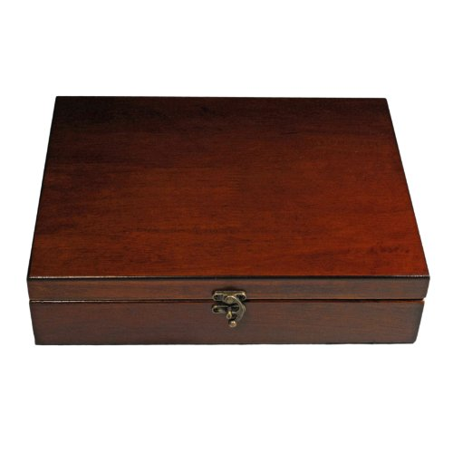 Old World Wooden Treasure Box with Brass Latch (Made in USA)