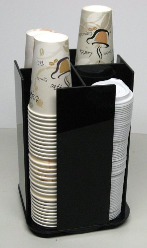Coffee Cup Dispenser Lid Holder Beverage Organizer Spinning Caddy Organize your counter with style (1005LA) (Disposable Hot Beverage Dispenser compare prices)