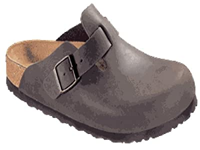 Birkenstock Clogs ''Boston'' from Leather in Peat with a regular insole