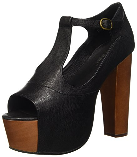 Jeffrey Campbell Foxy Scarpe con tacco a punta aperta, Donna, Nero (Leather Black), 39