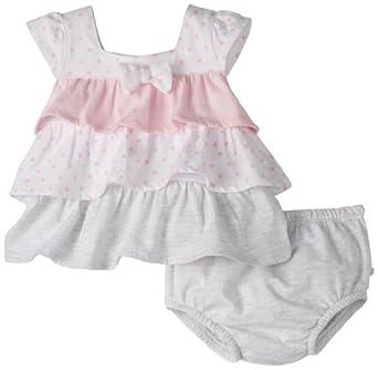 Absorba Baby-Girls Newborn Polka Dot Two Piece Short Set, Pink/Grey, 6-9 Months