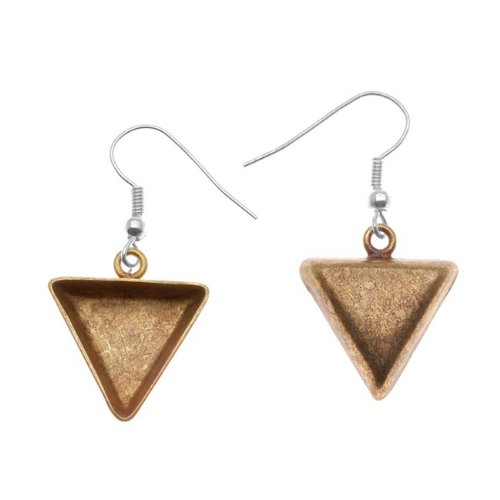 Amate Studio Antiqued Brass Triangle Bezel Earrings With Hooks 19x21mm (1 Pair)