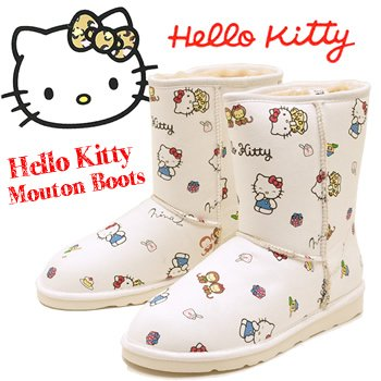 Shearling boots Middle boots casual boots ローヒールボア boots Hello Kitty Sanrio shoes [L] approximately 24.5-25.5 cm white