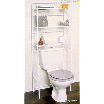 Pas cher meuble toilettes wc m tal blanc 3 tablettes for Meuble dessus wc pas cher