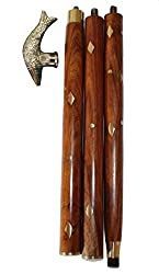 INDOART Walking Stick (CANE) Fish Head , 4PCS Folding , 36