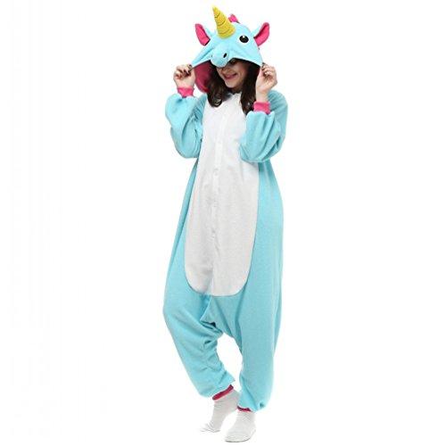 TELLOYSD Unisex Warm Onesie Pajamas Adult Casual Tracksuit Cosplay New Unicorn Blue (M(158-168CM))