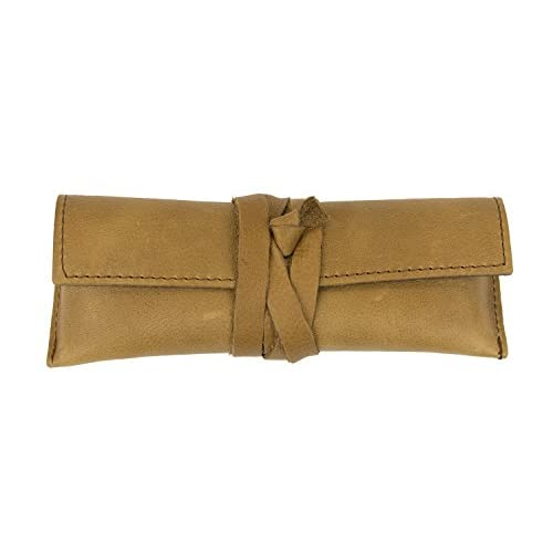 Light Brown Genuine Leather Handcrafted Multipurpose Eyeglass Case Holder from Italy