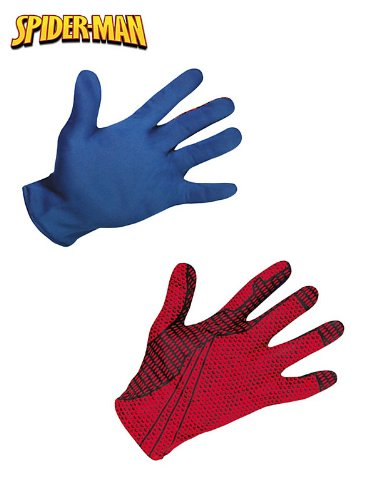 Morris Costumes Men's SPIDER-MAN MOVIE ADULT GLOVES, Red/Blue, 4-6