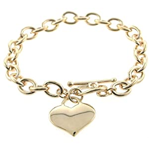 Designer Inspired Gold Heart Charm Toggle Bracelet Links Of Love