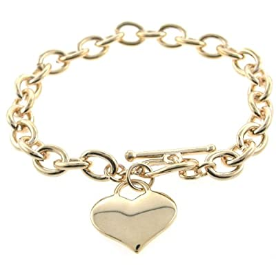 Designer Inspired Gold Heart Charm Toggle Bracelet Links Of Love: Jewelry